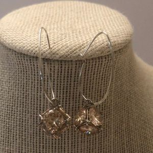 Vintage champagne crystal cube silver earrings